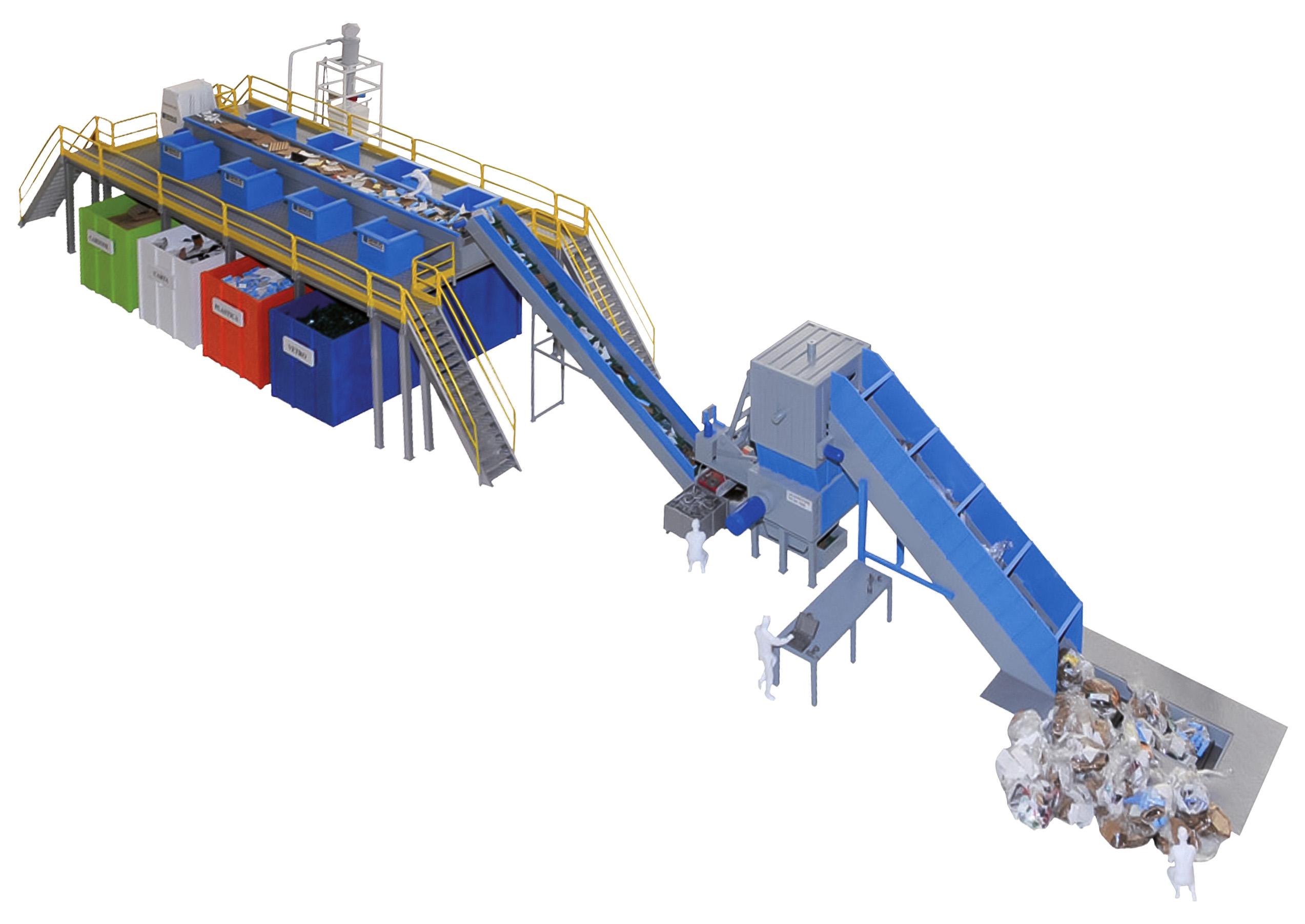 Estação de separação de resíduos RSU